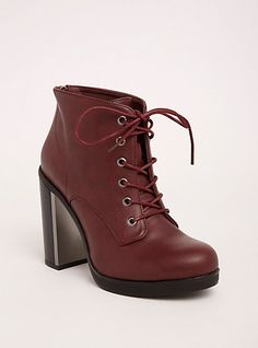 Metal Heel Lace Up Booties (Wide Width)Metal Heel Lace Up Booties (Wide Width), WINE