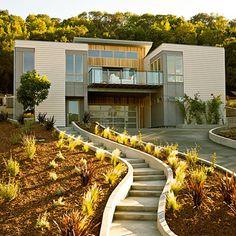 Sunset Magazine Idea House - Breezehouse prefab in Healdsburg, CA Loft Style Apartments, Flat Roof House, Backyard Bar, Prefab Homes, Life Design, Cool House Designs, House Floor Plans, Architecture Details, Exterior Design
