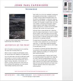 John Paul Caponigro - Google+ - Free PDF - The Aesthetics Of Prints Half of knowing how to…