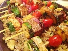 Pineapple Island Vegan Kebabs Yummers! http://www.onegreenplanet.org/vegan-recipe/pineapple-island-vegan-kabobs/