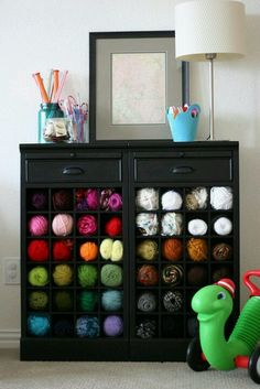 Wine rack yarn storage