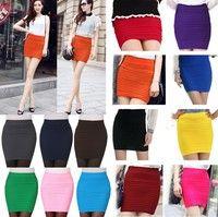 Wish   Mini High Waist Pleated Elastic Short Dress Pencil Bodycon Slim Skirt Seamless Tight Fitted Skort