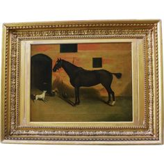 Antique Oil Painting ~ Horse With Dog Friend