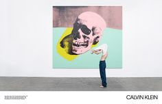 Andy Warhol: Skull, 1976 © The Andy Warhol Foundation / ARS Calvin Klein: Classic Denim Jeans (Archival Originals, 1982) with Classic Cotton Tank (Calvin Klein Underwear Est. 1981)  Photographed at The Andy Warhol Museum, Pittsburgh