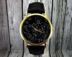 Vintage Constellation Watch  Leather Watch  Ladies by RedJuanShop