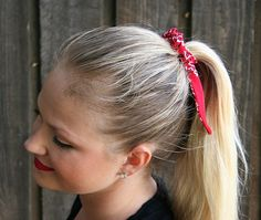 Vintage Bandana No Slip Hair Wrap for Ponytails & Buns in Red 100% Cotton
