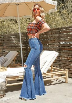 P1708 Asoph x Vibrant Knee Distressed Retro Bell Flare Jean | Asoph.com Western Outfits Women, Country Style Outfits, Cute Jeans, Church Outfits, Bell Bottoms, Bell Bottom Jeans, Vibrant, Fashion Outfits