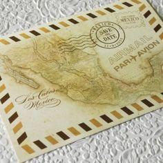 Vintage Air Mail Postcard Save the Date (5 x 7 Postcard)