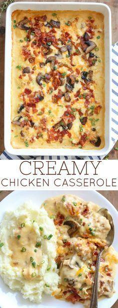 Creamy Chicken Casserole Recipe with Mushrooms, Bacon and Cheese. #Casserole #ChickenCasserole #CreamofChickenSoup #Mushrooms #Bacon