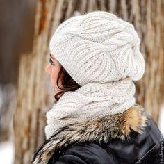 Купить Вязаный снуд и шапка Боярыня - комплект шапка и шарф, шапка и шарф женский