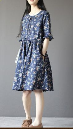 Blue floral cotton sundress plus size fit flare dress half sleeve Baby Girl Dress Patterns, Dresses Kids Girl, Preppy Dresses, Casual Summer Dresses, Old Dresses, Cotton Dresses, Beautiful Frocks, Short Frocks, Frock Fashion