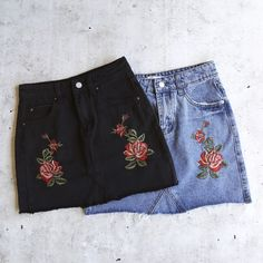 showstopper embroidered denim skirt - cones in black denim & in blue denim