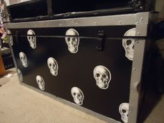 Huge trunk I refinished black and silver and applied skulls from a paper plate.