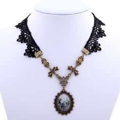 Charmante kant en koperen bloem ketting met koper victoriaanse stijl dame camee pandent