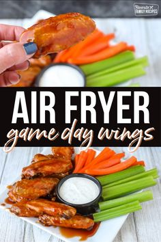 Can chicken wings really be crispy on the outside and tender on the inside with NO OIL? YES! These Air Fryer Chicken Wings are cooked perfectly crisp then smothered in our favorite wing sauce! #chickenwings #airfryerchickenwings #airfrychickenwingseasy Air Fryer Recipes Easy, Fun Easy Recipes, Popular Recipes, Easy Meals, Oven Recipes, Chicken Appetizers, Appetizer Recipes, Air Fried Food, Family Meals