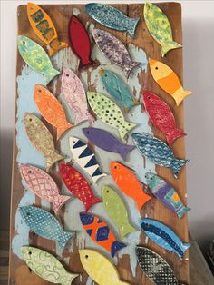 Reclaimed wood & pottery fish