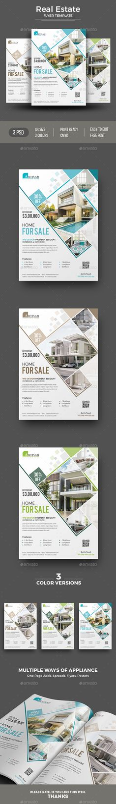 #Real Estate #Flyer - #Corporate Flyers Download here:  https://graphicriver.net/item/real-estate-flyer/20446394?ref=alena994