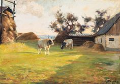 Barnyard with Cattle Grazing | From a unique collection of landscape paintings at https://www.1stdibs.com/art/paintings/landscape-paintings/