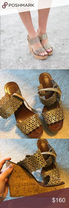 Tory Burch Gold Wedges Only worn a few times. Goes with any outfit! Tory Burch Shoes Wedges
