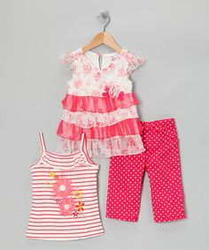 Take a look at this Pink Ruffle Dress Set - Toddler & Girls by Nannette on #zulily today!