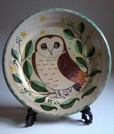 Barn owl handmade pottery plate, bird pottery, owl gift, folk art…
