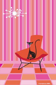 Mid-Century Modern Wall Art - retro cat - Cat in a Bird Chair by KerryBeary.