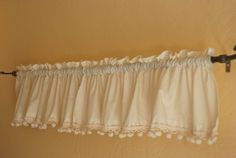 White cotton curtain valances with pom pom trim by joyridevintage, $12.00