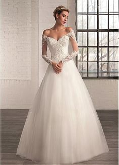 Elegant Tulle Off-the-Shoulder Neckline A-line Wedding Dresses with Beaded Lace Appliques