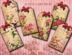 Vintage Floral Tags - Shabby Chic - Jewelry Holders - Scrapbooking - Collage Sheet - Printable Download - 1014 via Etsy