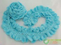 Blue Ruffle Scarf free crochet graph pattern