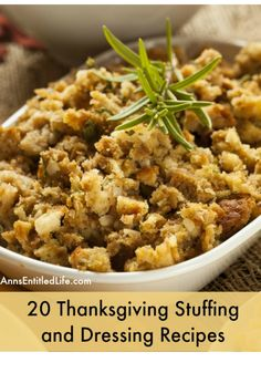 20 Thanksgiving Stuffing and Dressing Recipes. Cornbread stuffing, sourdough dressing, gluten free  and slow cooker stuffing recipes; these are just a few of the 20 Thanksgiving Stuffing and Dressing Recipes for you to discover and prepare for your holiday dinner from the list below!