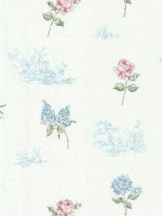 Brewster White, Blue, Green, Pink Rose, Hydrangea, Toile Wallpaper - FD45764