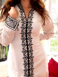 White Moroccan Tunic Hand Embroidered Dress-Haja Style (SALE)