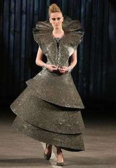 . Dresses made just from iron. Fashion designer Luana Jardim presented a collection of dresses, Specular, made of iron at Fashion Rio