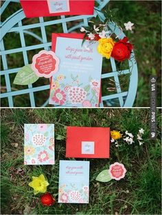 colorful wedding invitations   VIA #WEDDINGPINS.NET