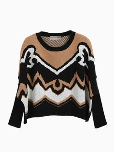 Contrast Geometric Cape Jumper