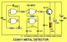 CMOS 4011 metal detector in 2019 Electronics Basics, Electronics Projects, Metal Detektor, Pulse Induction Metal Detector, Gold Detector, Electronic Schematics, Metal Detecting, Circuit Diagram, Radio Frequency