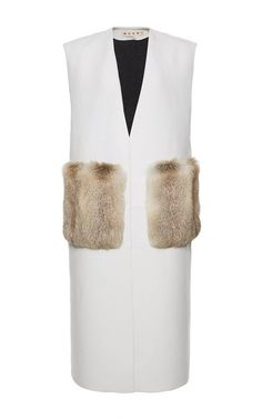Shop Collarless Lambskin Waistcoat With Fur Pockets. This sleeveless **Marni** waistcoat is rendered in lambskin and features a collarless design with a deep v-neck, two patch pockets rendered in Fox fur at the front, and a knee length boxy silhouette. Fox Fur, Fall Dresses, Fall Winter, Winter Gear, Marni, Cute Outfits, Work Outfits, Fashion Forward, Autumn Fashion