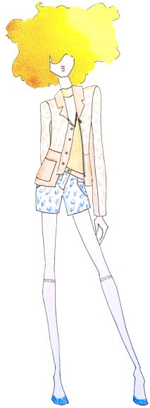 Designer Sketch by Saunder - PANTONE Sand, PANTONE Freesia & PANTONE Dazzling Blue - Spring 2014 Pantone Fashion Color Report #FCRS14 #pantone @Emily Saunders