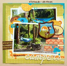 Cute Camping Scrapbook Layout by Michelle Clement