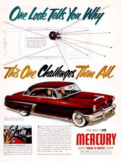 """With Merc-O-Matic Drive! Vintage Advertisements, Vintage Ads, Edsel Ford, American Classic Cars, Classic Chevy Trucks, Car Advertising, Ford Motor Company, Print Ads, Hot Cars"