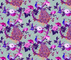 Vintage Peacock (Violet   Grey) fabric by nouveau_bohemian on Spoonflower - custom fabric