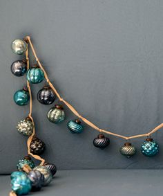 Look what I found on #zulily! Blue Mercury Glass Ball Ornament Garland…