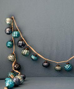 Love this Blue Mercury Glass Ball Ornament Garland on #zulily! #zulilyfinds