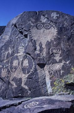 """Ancient Pueblo-Anasazi rock art of a warrior with a bear claw shield - New Mexico.  -- in thousands of years, we have never stopped wanting to leave something behind that says """"I was here"""""""