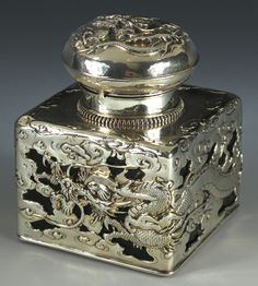 Japanese silver and glass inkwell - Arthur & Bond Art / Ideas / Artist / Thoughts More At FOSTERGINGER @ Pinterest
