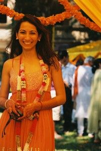 wedding in India with flowers and bride