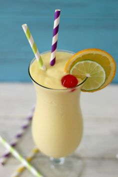 Hurricane Smoothie - A light, healthy smoothie made after the famous Southern drink , the Hurricane. It's made with pineapple, oranges, lime, greek yogurt and rum extract!