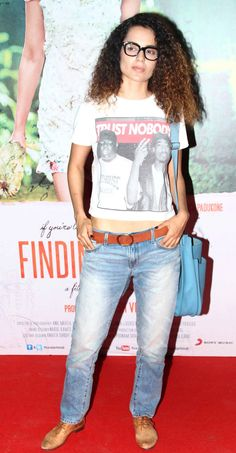 Kangana Ranaut showed off her flat midriff in a cropped tee shirt, denims and Oxford shoes at the screening of 'Finding Fanny'.