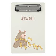 #Bear and Ducklings Illustration Mini Clipboard - customized designs custom gift ideas